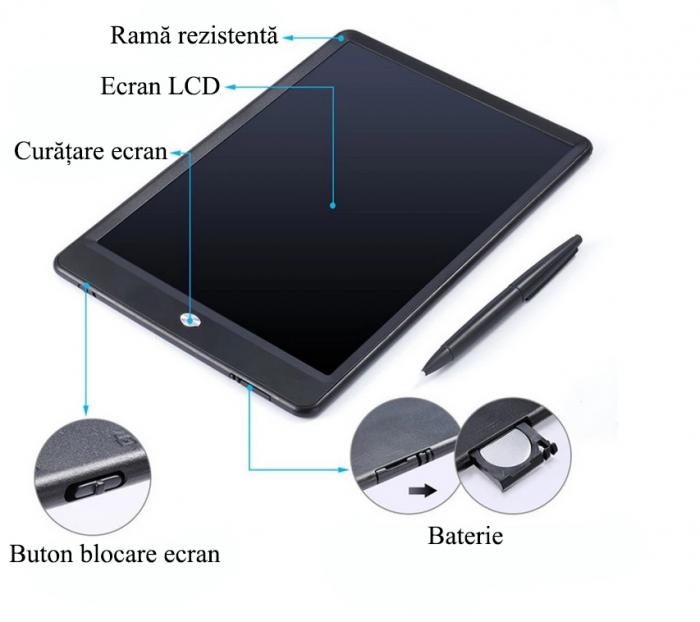 Tableta Grafica Cu Display de 10 inch pentru Scris si Desenat + Creion 5