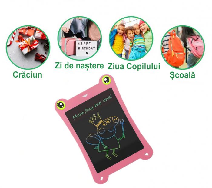 Tableta Grafica pentru Copii, SMARTIC, 8.5 inch, model Broscuta, Roz 4