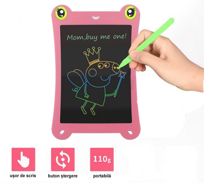Tableta Grafica pentru Copii, SMARTIC, 8.5 inch, model Broscuta, Roz 5