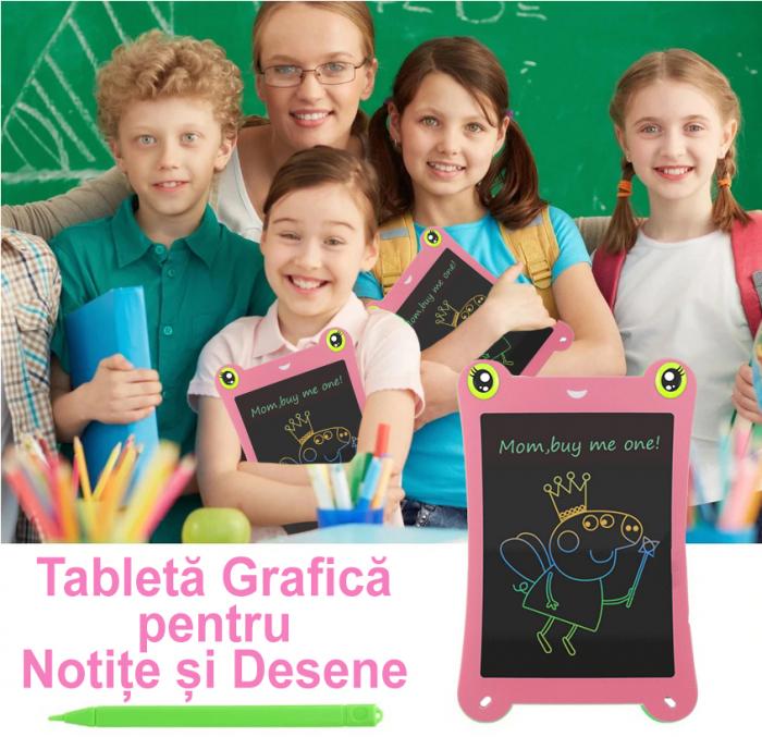 Tableta Grafica pentru Copii, SMARTIC, 8.5 inch, model Broscuta, Roz 1