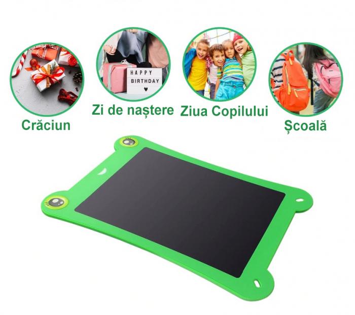 Tableta Grafica pentru Copii, SMARTIC, 8.5 inch, model Broscuta, Verde 5