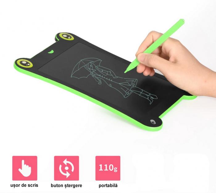 Tableta Grafica pentru Copii, SMARTIC, 8.5 inch, model Broscuta, Verde 2