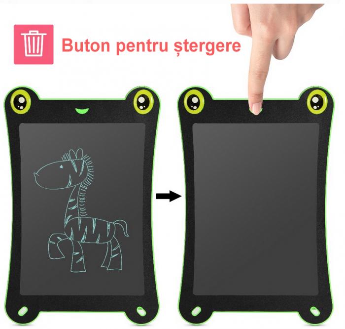 Tableta Grafica pentru Copii, SMARTIC, 8.5 inch, model Broscuta, Verde 4