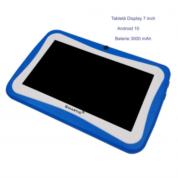 "Tableta portabila pentru copii, Display 7"" Quad-Core Android 10, Wi-Fi, Bluetooth 4.0, 1GB RAM, 8G ROM, HD Dual Camera, Touch Screen, Smartic®, albastru [5]"