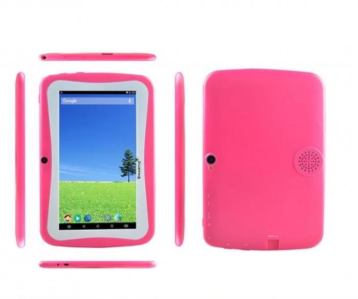 "Tableta portabila pentru copii, Display 7"" Quad-Core Android 10, Wi-Fi, Bluetooth 4.0, 1GB RAM, 8G ROM, HD Dual Camera, Touch Screen, Smartic®, roz [3]"