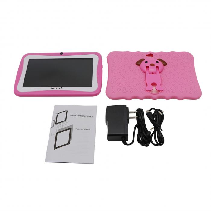 "Tableta portabila pentru copii, Display 7"" Quad-Core Android 10, Wi-Fi, Bluetooth 4.0, 1GB RAM, 8G ROM, HD Dual Camera, Touch Screen, Smartic®, roz [6]"