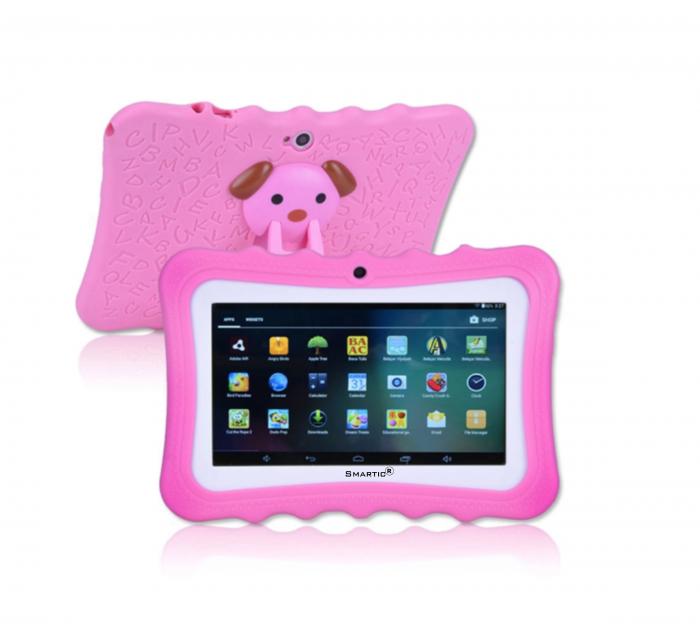 "Tableta portabila pentru copii, Display 7"" Quad-Core Android 10, Wi-Fi, Bluetooth 4.0, 1GB RAM, 8G ROM, HD Dual Camera, Touch Screen, Smartic®, roz [2]"