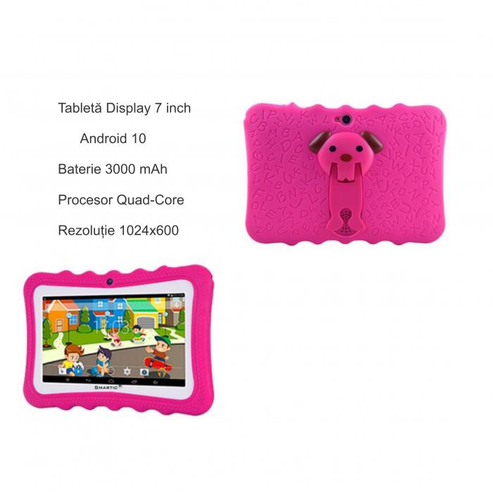 "Tableta portabila pentru copii, Display 7"" Quad-Core Android 10, Wi-Fi, Bluetooth 4.0, 1GB RAM, 8G ROM, HD Dual Camera, Touch Screen, Smartic®, roz [5]"