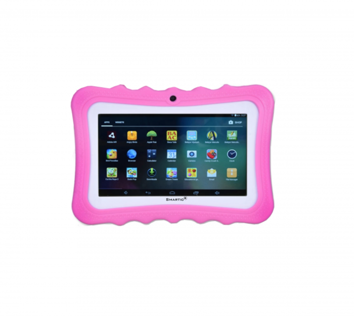 "Tableta portabila pentru copii, Display 7"" Quad-Core Android 10, Wi-Fi, Bluetooth 4.0, 1GB RAM, 8G ROM, HD Dual Camera, Touch Screen, Smartic®, roz [0]"