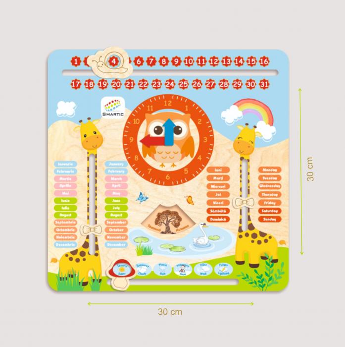 "Tablita din lemn ""Calendarul naturii"", 5 activitati, Design Girafa, Limba Romana si Engleza, 30x30 cm, Smartic®, multicolor 3"