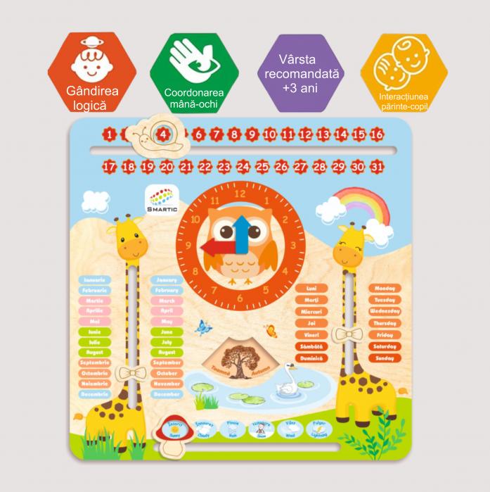 "Tablita din lemn ""Calendarul naturii"", 5 activitati, Design Girafa, Limba Romana si Engleza, 30x30 cm, Smartic®, multicolor 4"