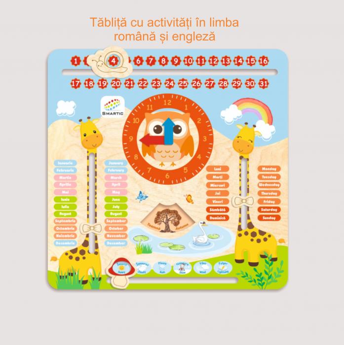 "Tablita din lemn ""Calendarul naturii"", 5 activitati, Design Girafa, Limba Romana si Engleza, 30x30 cm, Smartic®, multicolor 5"