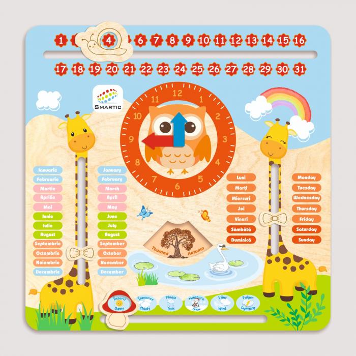 "Tablita din lemn ""Calendarul naturii"", 5 activitati, Design Girafa, Limba Romana si Engleza, 30x30 cm, Smartic®, multicolor 1"