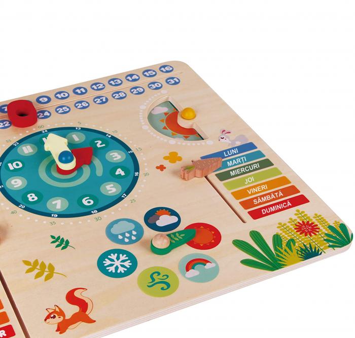"""Tablita din lemn """"Calendarul naturii"""", 6 activitati, Design Bufnita, Limba Romana, 30x30 cm, Smartic®, multicolor [4]"""