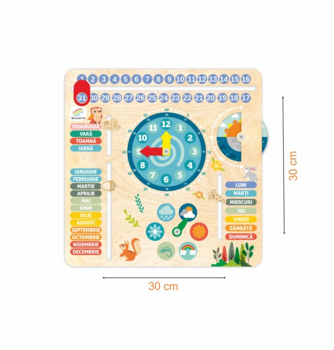 """Tablita din lemn """"Calendarul naturii"""", 6 activitati, Design Bufnita, Limba Romana, 30x30 cm, Smartic®, multicolor [5]"""