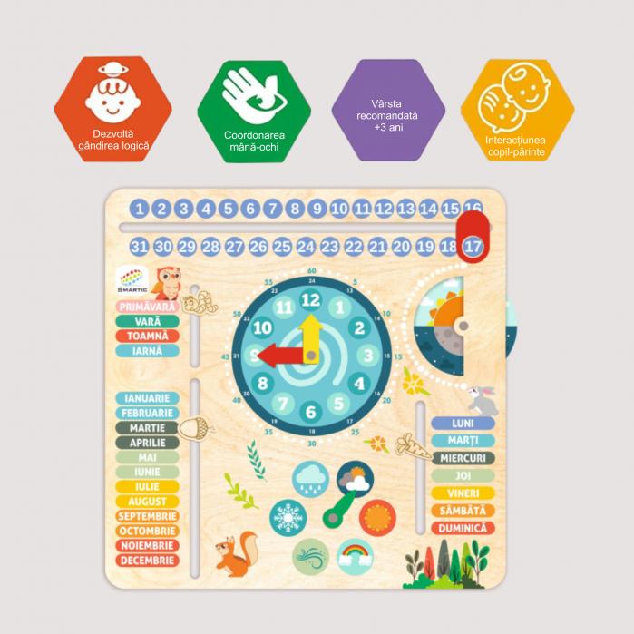 """Tablita din lemn """"Calendarul naturii"""", 6 activitati, Design Bufnita, Limba Romana, 30x30 cm, Smartic®, multicolor [6]"""