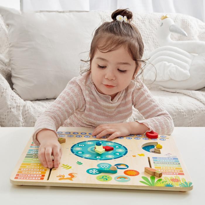 """Tablita din lemn """"Calendarul naturii"""", 6 activitati, Design Bufnita, Limba Romana, 30x30 cm, Smartic®, multicolor [2]"""
