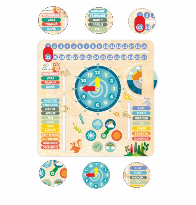"""Tablita din lemn """"Calendarul naturii"""", 6 activitati, Design Bufnita, Limba Romana, 30x30 cm, Smartic®, multicolor [3]"""