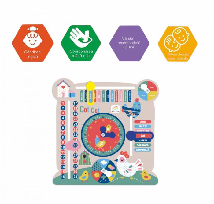 """Tablita din lemn """"Calendarul naturii"""", 6 activitati, Design Puisori, Limba Romana, 30x30 cm, Smartic®, multicolor [6]"""