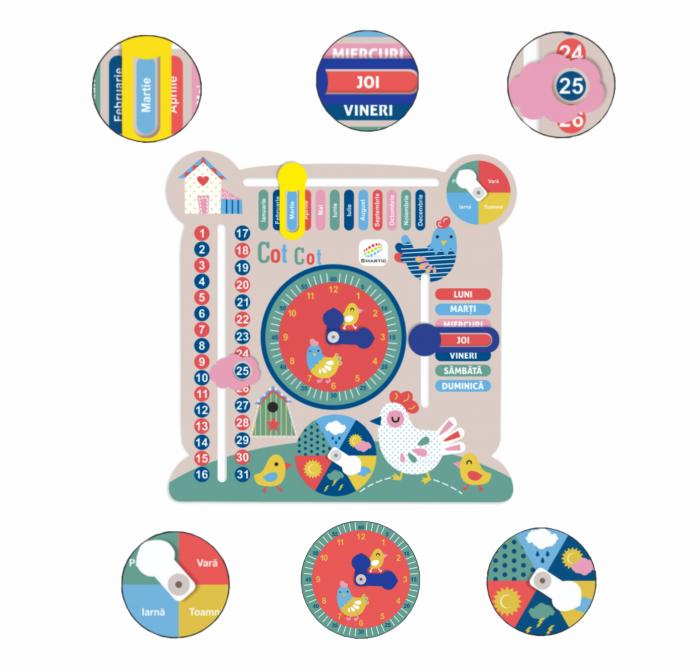 """Tablita din lemn """"Calendarul naturii"""", 6 activitati, Design Puisori, Limba Romana, 30x30 cm, Smartic®, multicolor [1]"""