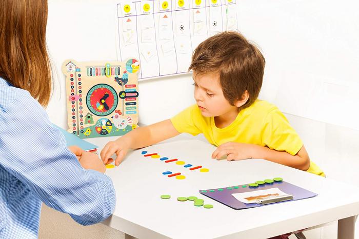 """Tablita din lemn """"Calendarul naturii"""", 6 activitati, Design Puisori, Limba Romana, 30x30 cm, Smartic®, multicolor [3]"""