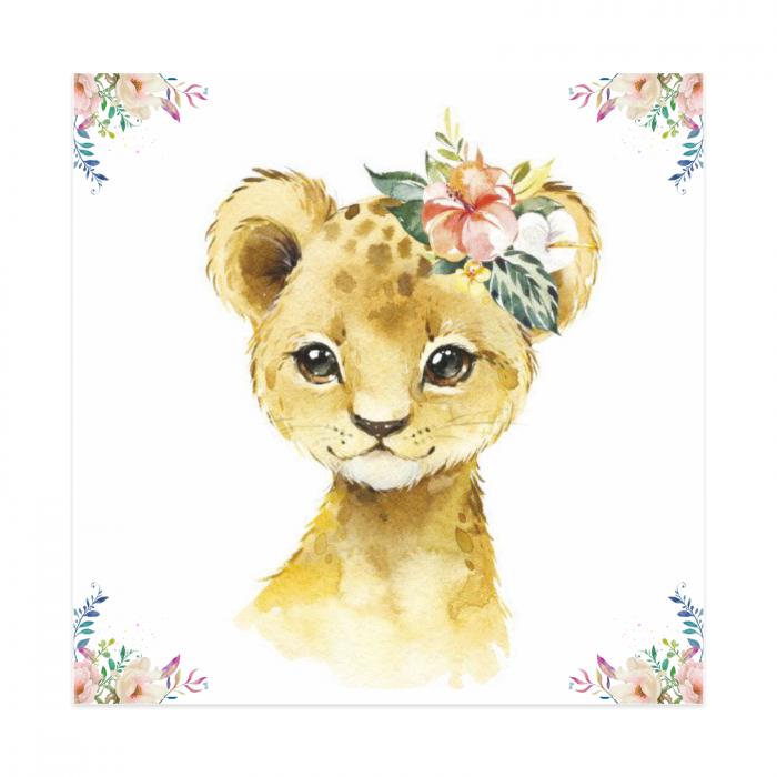 Tablou Canvas Pentru Camera Copiilor, Model Tigru, Material Textil si Bumbac, 20 x 20 cm, Multicolor [0]