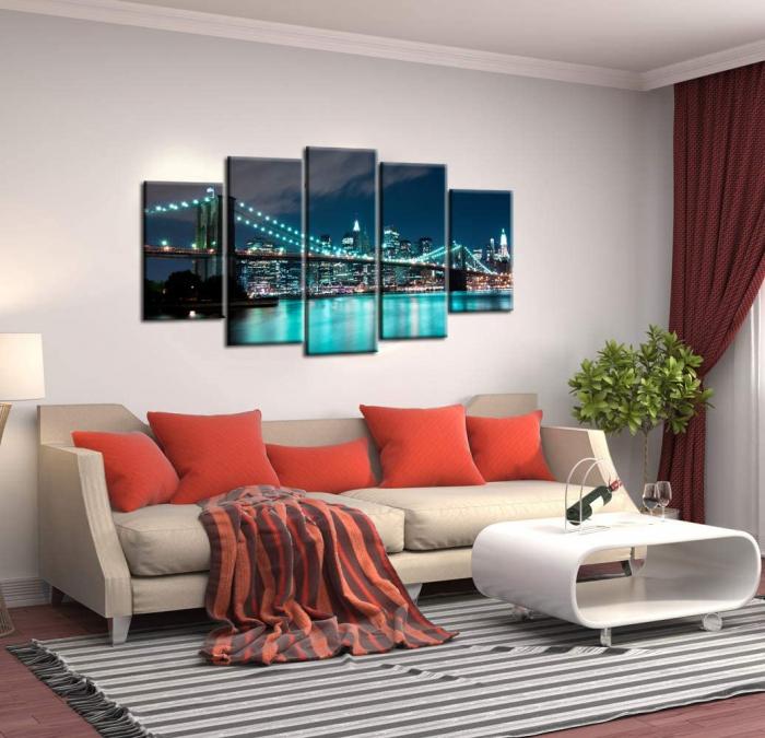 Tablou Nachic Wall,New York Art, View Night, Set 5 piese, 30 x 50 , 30 x 70, 30 x 80 , Material Panza, Tema Natura, Multicolor 7