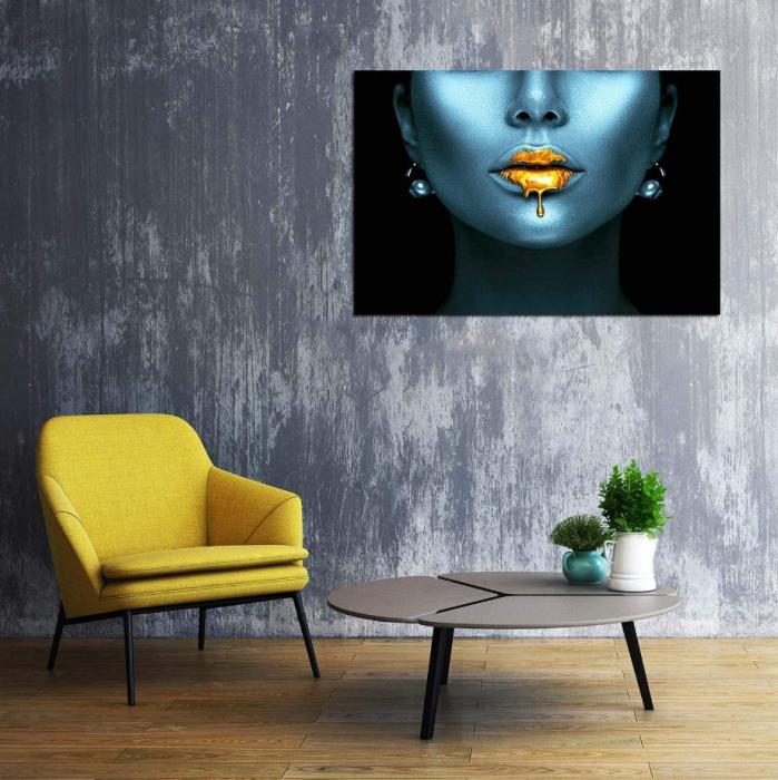 Tablou Canvas Abstract, Panza, 50 x 100 cm, Albastru/Auriu Metalic [2]