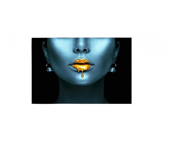 Tablou Canvas Abstract, Panza, 100 x 80 cm, Albastru/Auriu Metalic 1
