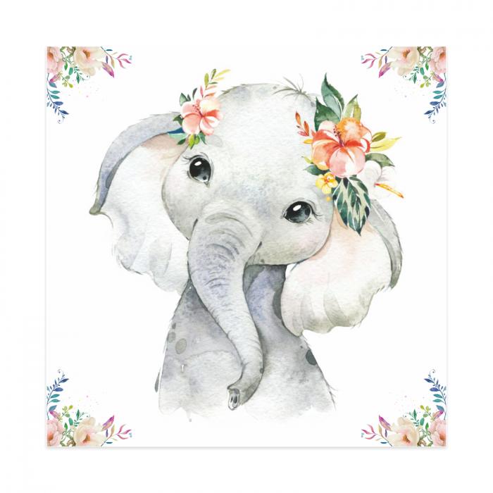 Tablouri Canvas Pentru Camera Copiilor, Set 4 Piese, Model Elefant, Girafa, Zebra, Tigru, Material Textil si Bumbac, 20 x 20 cm, Multicolor [1]