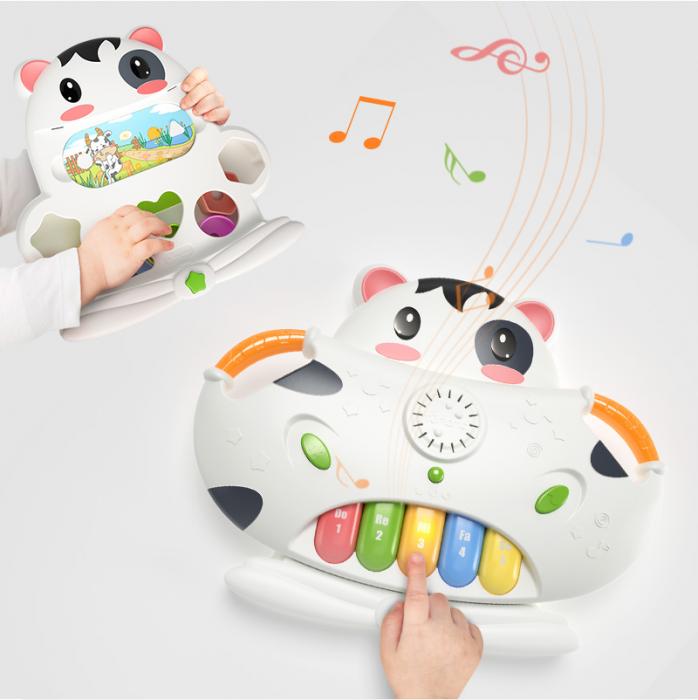 Tastatura muzicala Tumama®, pian si sortare a formelor, design amuzant si colorat in forma de vacuta, alb 6