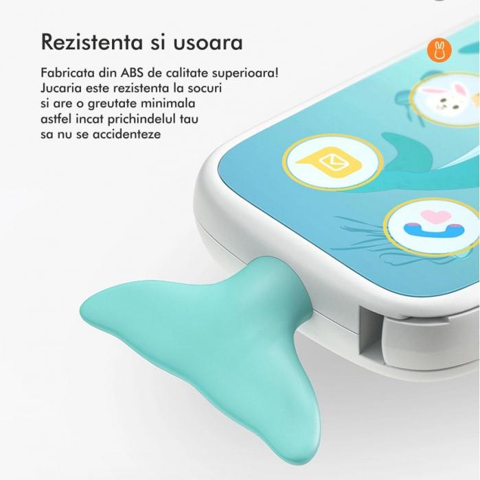 Telefon muzical  interactiv cu peste 100 de sunete educative pentru copii, alb, Tumama® 3