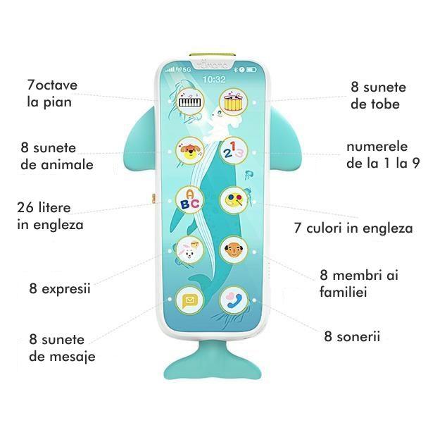 Telefon muzical  interactiv cu peste 100 de sunete educative pentru copii, alb, Tumama® 5