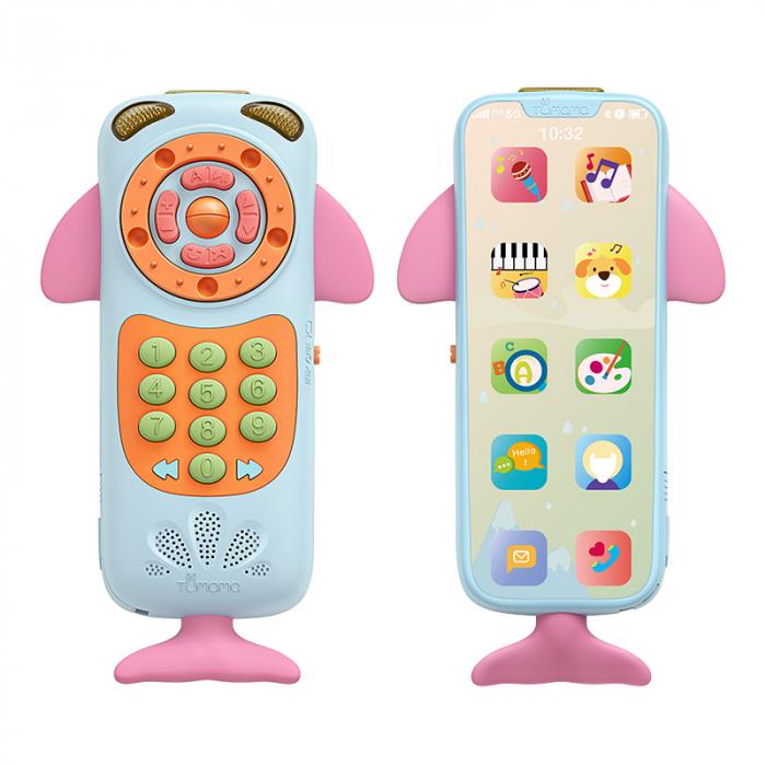 Telefon muzical  interactiv cu peste 100 de sunete educative pentru copii, Material Plastic/Silicon, Varsta +18 luni, Lumini si Sunete, Melodii, Tumama®, albastru/roz [0]