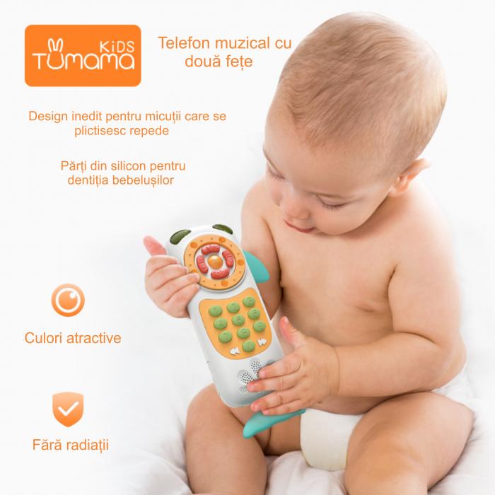 Telefon muzical  interactiv cu peste 100 de sunete educative pentru copii, Material Plastic/Silicon, Varsta +18 luni, Lumini si Sunete, Melodii, Tumama®, albastru/roz [8]