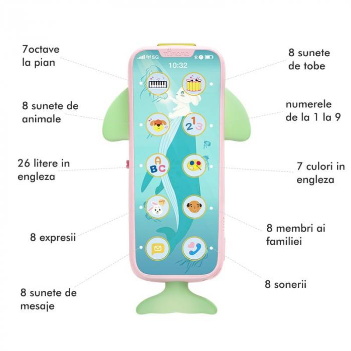 Telefon muzical Tumama® interactiv cu peste 100 de sunete educative pentru copii, roz 3