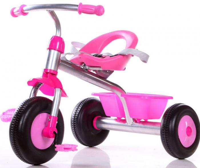 Tricicleta cadru metalic, cos depozitare si scaun reglabil cu centura, SMARTIC®, roz 1