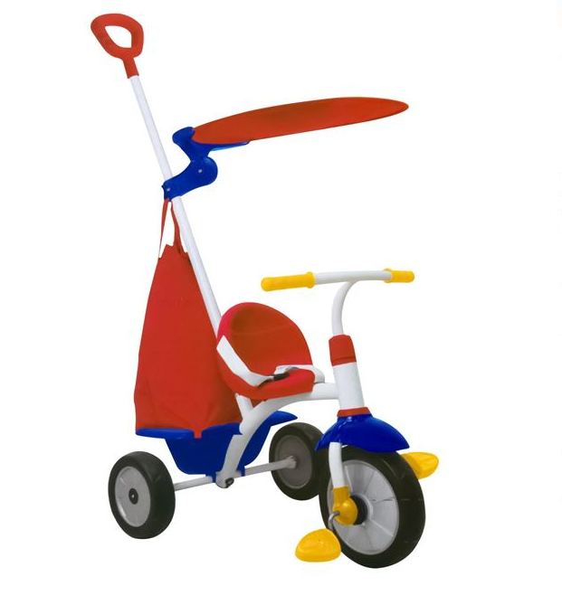 Tricicleta copii cadru metalic, maner detasabil, centura de siguranta, cos depozitare, parasolar, SMARTIC®, rosu/albastru [0]