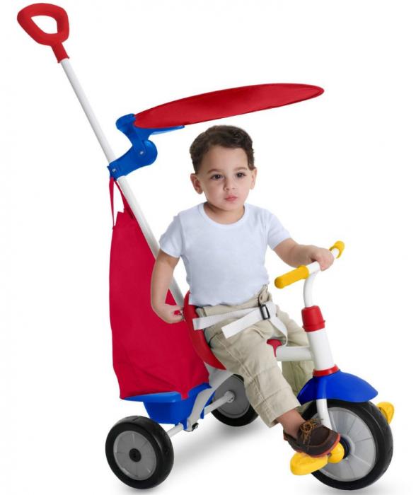 Tricicleta copii cadru metalic, maner detasabil, centura de siguranta, cos depozitare, parasolar, SMARTIC®, rosu/albastru [1]