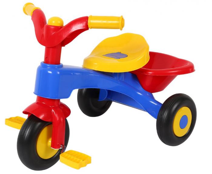 Tricicleta plastic cu pedale si claxon, SMARTIC®, multicolora 0