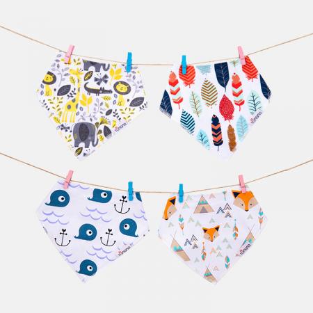 4 seturi 2 in 1 Tumama® bandana si babetica bebelusi, imprimeuri multicolore5