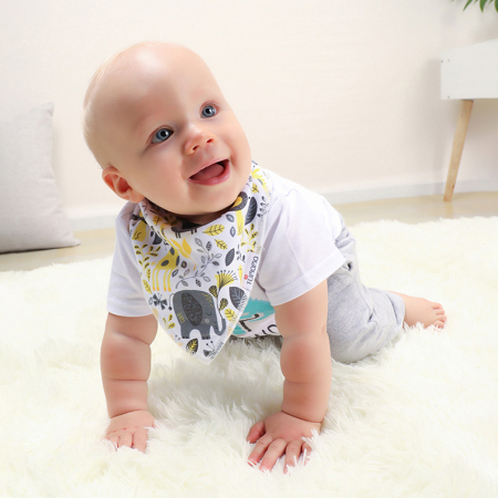 4 seturi 2 in 1 Tumama® bandana si babetica bebelusi, imprimeuri multicolore4