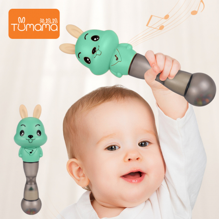 Jucarie muzicala electronica Maracas, cu zornaitoare, pentru copii si bebelusi, verde5