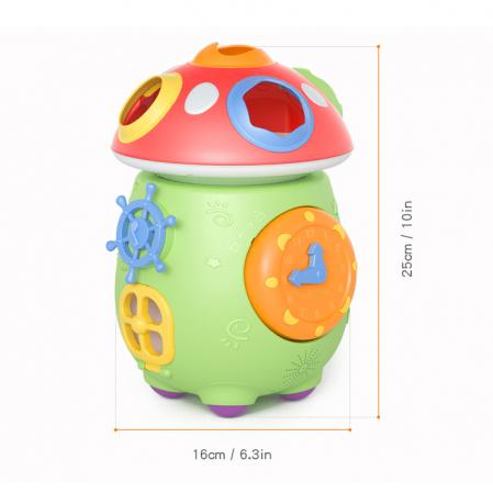 Jucarie muzicala cu sortare de forme Ciupercuta Magica, design amuzant si colorat, verde [6]