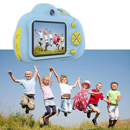 Aparat Foto Compact pentru Copii, Albastru, cu functie Selfie, Recunoastere Faciala, Filmare HD1