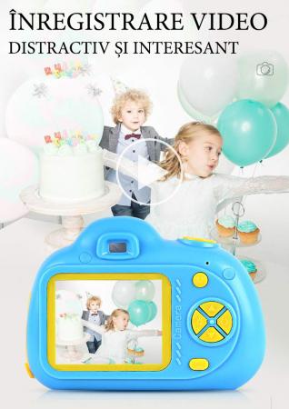 Aparat Foto Compact pentru Copii, Albastru, cu functie Selfie, Recunoastere Faciala, Filmare HD5