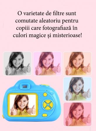 Aparat Foto Compact pentru Copii, Albastru, cu functie Selfie, Recunoastere Faciala, Filmare HD7