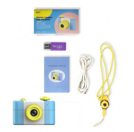 Aparat Foto Compact pentru Copii, Albastru, cu Obiectiv, Fotografiere Full HD, Filmare HD + Cadou Husa de protectie4