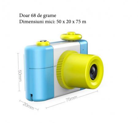 Aparat Foto Compact pentru Copii, Albastru, cu Obiectiv, Fotografiere Full HD, Filmare HD + Cadou Husa de protectie9