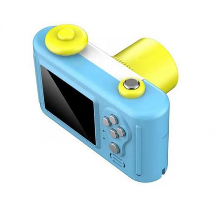 Aparat Foto Compact pentru Copii, Albastru, cu Obiectiv, Fotografiere Full HD, Filmare HD + Cadou Husa de protectie6